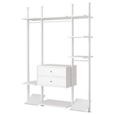 ELVARLI Wardrobe combination, white, 178x51x222-350 cm