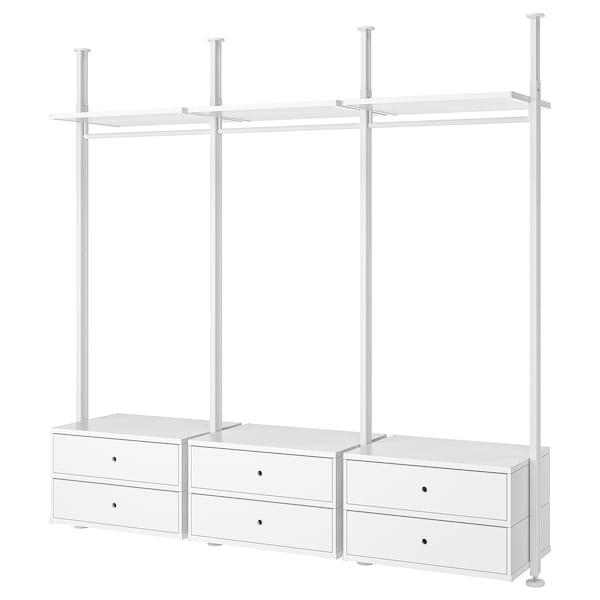 ELVARLI Wardrobe combination, white, 258x51x222-350 cm
