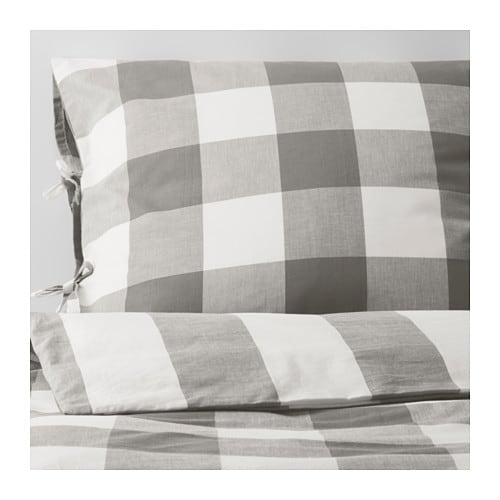 IKEA EMMIE RUTA quilt cover and 2 pillowcases Decorative ribbons keep the quilt in place.