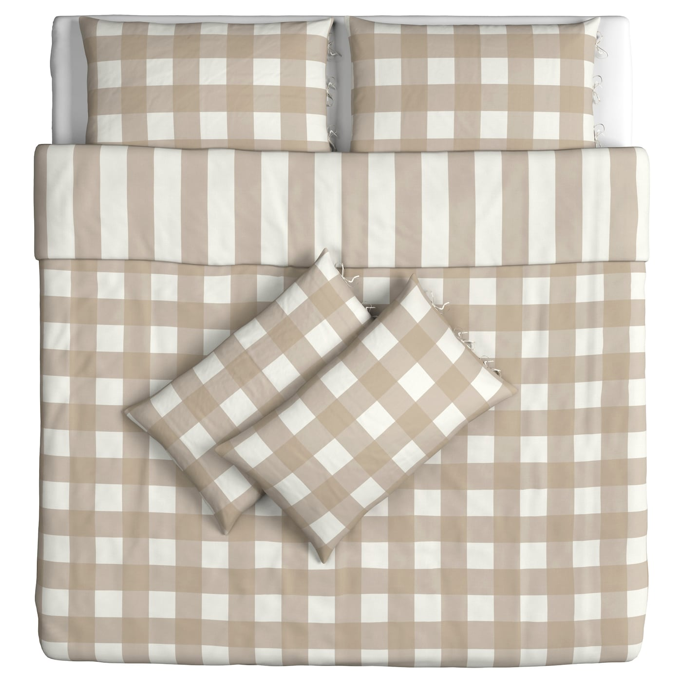 IKEA EMMIE RUTA quilt cover and 4 pillowcases Decorative ribbons keep the quilt in place.