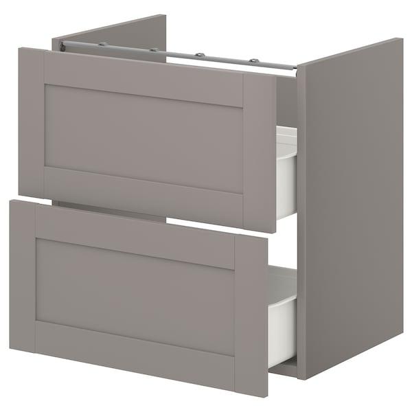 ENHET Base cb f washbasin w 2 drawers, grey/grey frame, 60x42x60 cm