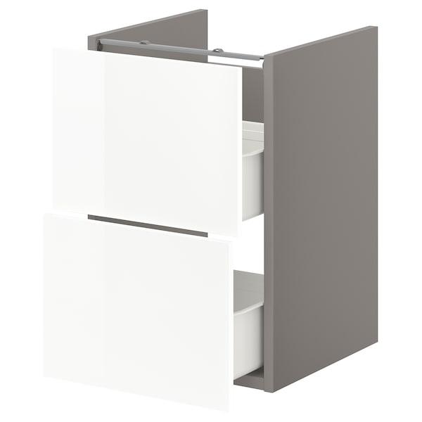 ENHET Base cb f washbasin w 2 drawers, grey/high-gloss white, 40x42x60 cm