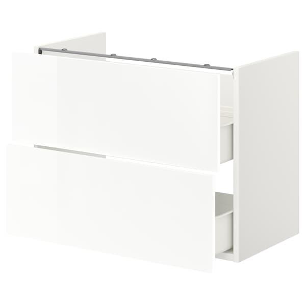 ENHET Base cb f washbasin w 2 drawers, white/high-gloss white, 80x42x60 cm