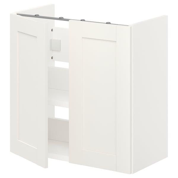 ENHET Bs cb f wb w shlf/doors, white/white frame, 60x32x60 cm