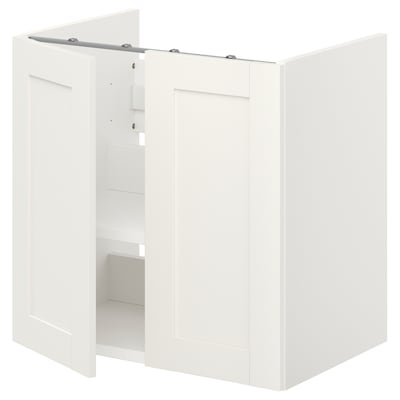 ENHET Bs cb f wb w shlf/doors, white/white frame, 60x42x60 cm