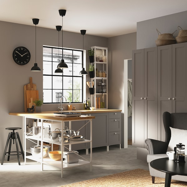 ENHET Corner kitchen, white/grey frame