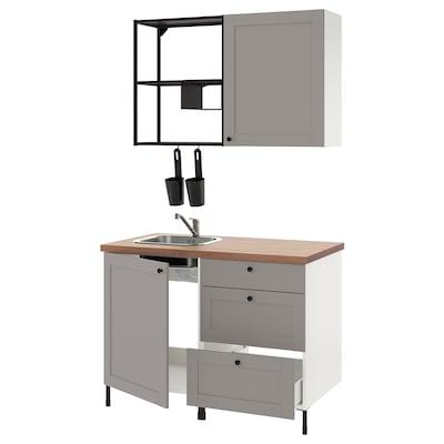 ENHET Kitchen, anthracite/grey frame, 123x63.5x222 cm