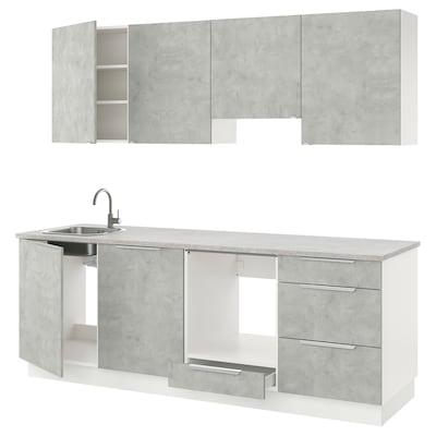 ENHET Kitchen, concrete effect, 243x63.5x222 cm