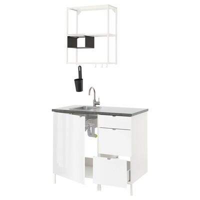 ENHET Kitchen, white/high-gloss white, 103x63.5x222 cm