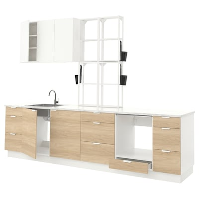 ENHET Kitchen, white/oak effect white, 323x63.5x241 cm