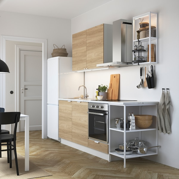 ENHET Kitchen, white/oak effect, 223x63.5x222 cm
