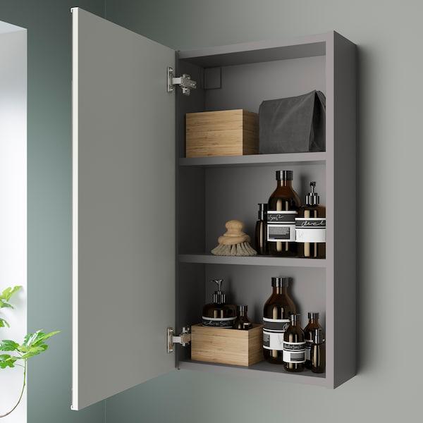 ENHET Mirror cabinet with 1 door, grey, 40x17x75 cm