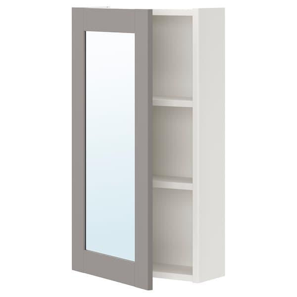 ENHET Mirror cabinet with 1 door, white/grey frame, 40x17x75 cm