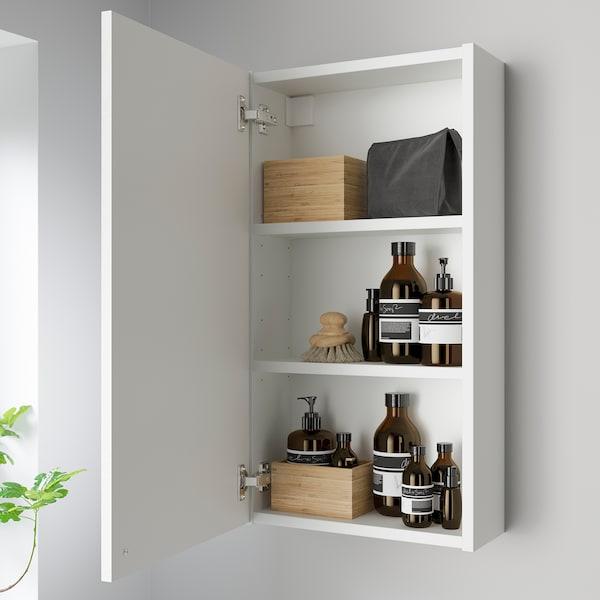 ENHET Mirror cabinet with 1 door, white/white frame, 40x17x75 cm