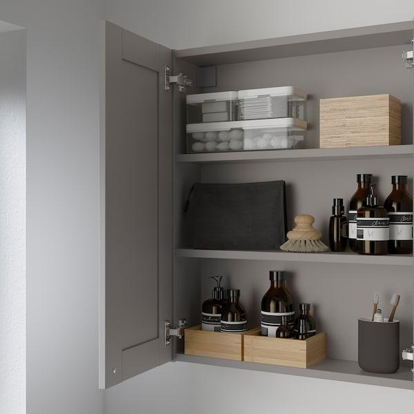 ENHET Mirror cabinet with 2 doors, grey/grey frame, 60x17x75 cm