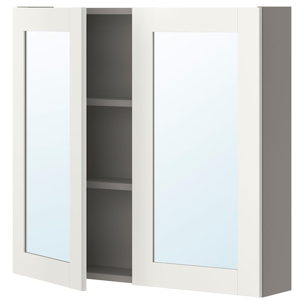 ENHET Mirror cabinet with 2 doors, grey/white frame, 80x17x75 cm