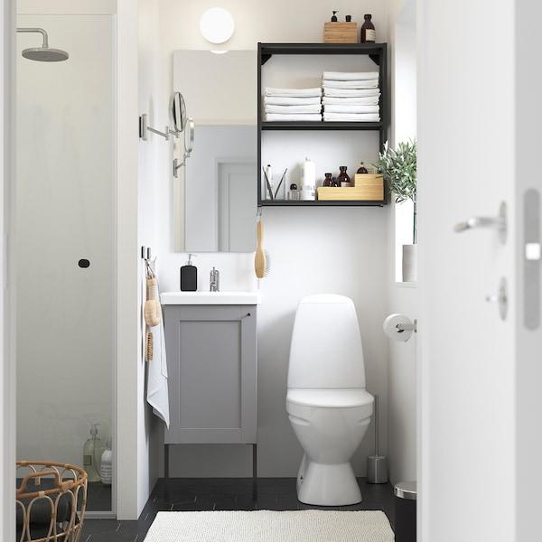 ENHET / TVÄLLEN Bathroom furniture, set of 10, grey frame/anthracite Lillsvan tap, 44x43x87 cm