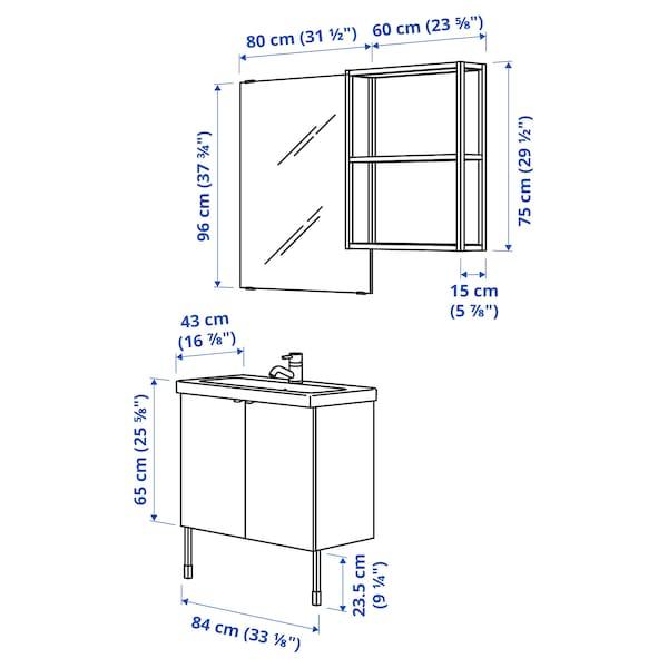 ENHET / TVÄLLEN Bathroom furniture, set of 11, white/anthracite Pilkån tap, 84x43x87 cm