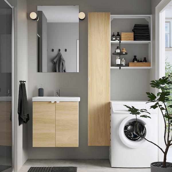 ENHET / TVÄLLEN Bathroom furniture, set of 13, oak effect/white Pilkån tap, 64x43x65 cm