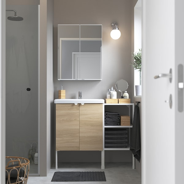 ENHET / TVÄLLEN Bathroom furniture, set of 14, oak effect/white Pilkån tap, 102x43x87 cm