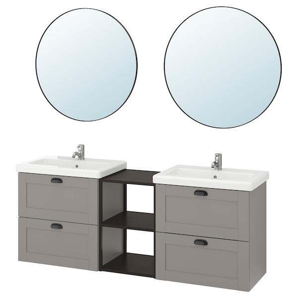 ENHET / TVÄLLEN Bathroom furniture, set of 15, grey frame/anthracite Pilkån tap, 164x43x65 cm