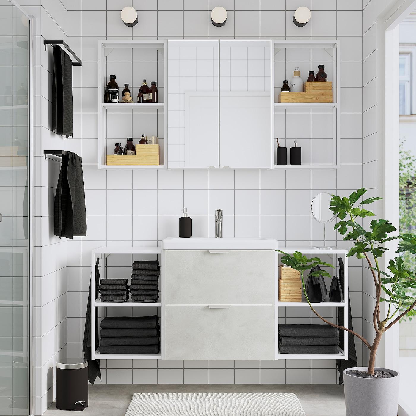 ENHET / TVÄLLEN Bathroom furniture, set of 18, concrete effect/white Brogrund tap, 140x43x65 cm
