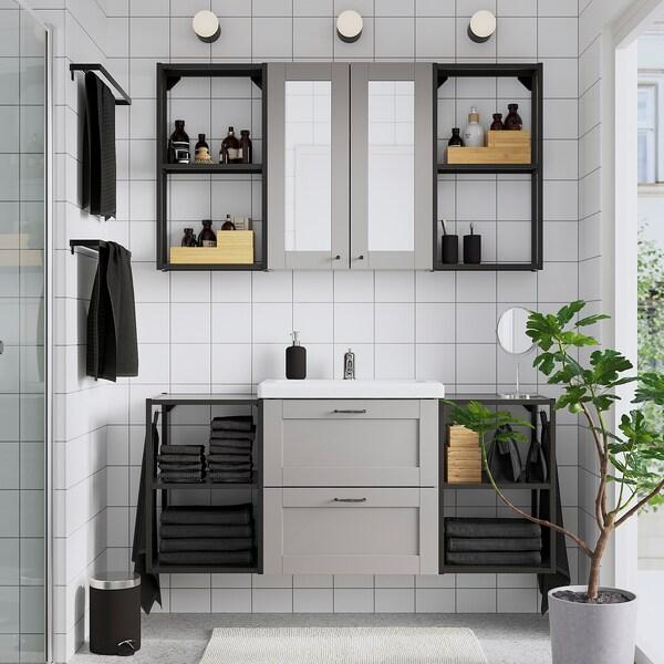 ENHET / TVÄLLEN Bathroom furniture, set of 18, grey frame/anthracite Pilkån tap, 140x43x65 cm