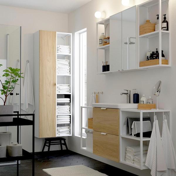 ENHET / TVÄLLEN Bathroom furniture, set of 18, oak effect/white Brogrund tap, 140x43x65 cm