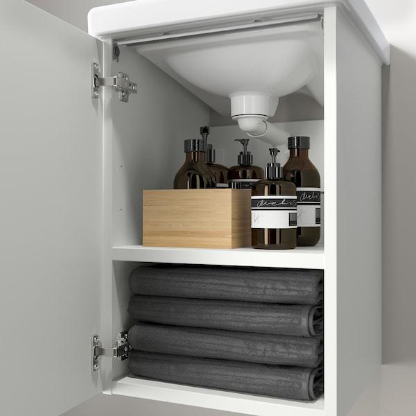 ENHET / TVÄLLEN Wash-basin cabinet with 1 door, white/Pilkån tap, 44x43x87 cm