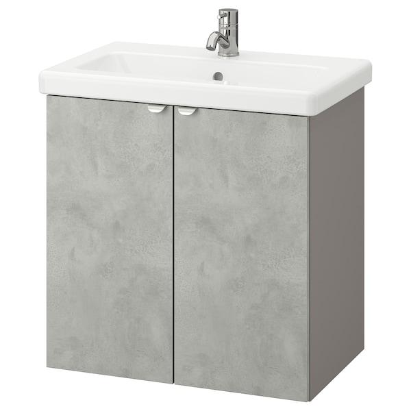 ENHET / TVÄLLEN Wash-basin cabinet with 2 doors, concrete effect/grey Pilkån tap, 64x43x65 cm