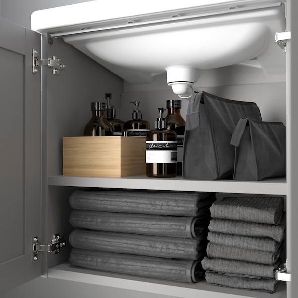ENHET / TVÄLLEN Wash-basin cabinet with 2 doors, grey frame/grey Pilkån tap, 64x43x65 cm