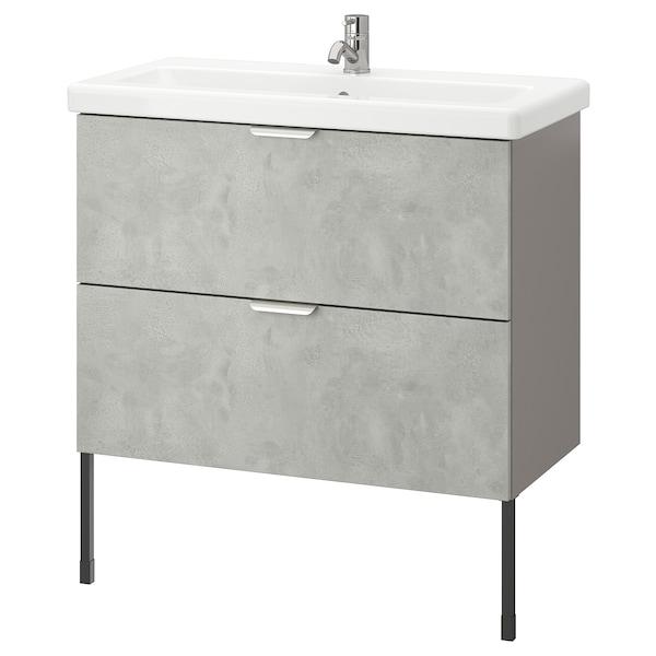 ENHET / TVÄLLEN Wash-stand with 2 drawers, concrete effect/grey Pilkån tap, 84x43x87 cm