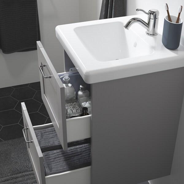 ENHET / TVÄLLEN Wash-stand with 2 drawers, grey frame/grey Lillsvan tap, 44x43x65 cm