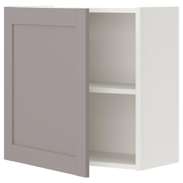 ENHET Wall cb w 1 shlf/door, white/grey frame, 60x32x60 cm