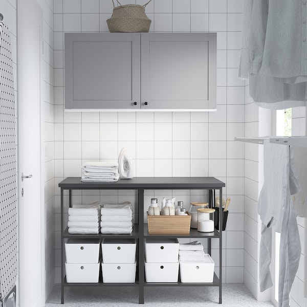 ENHET Wall storage combination, anthracite/grey frame, 123x63.5x207 cm