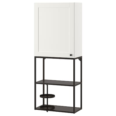 ENHET Wall storage combination, anthracite/white frame, 60x30x150 cm