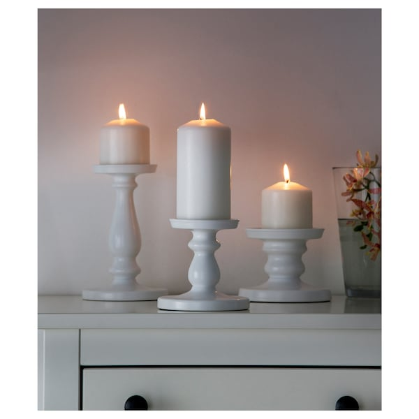ERSÄTTA Block candle holder, white, 13 cm