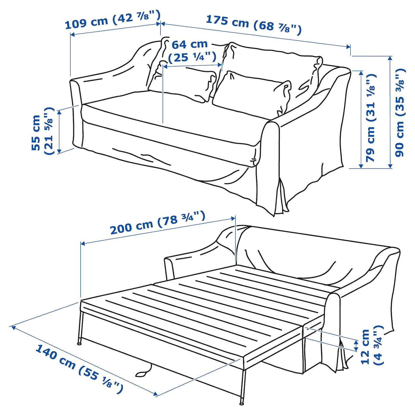 IKEA FÄRLÖV 2-seat sofa-bed 10 year guarantee. Read about the terms in the guarantee brochure.