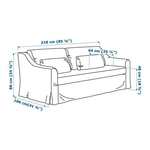 IKEA FARLOV 3 Seat Sofa The Cover Is Easy To Keep Clean As It