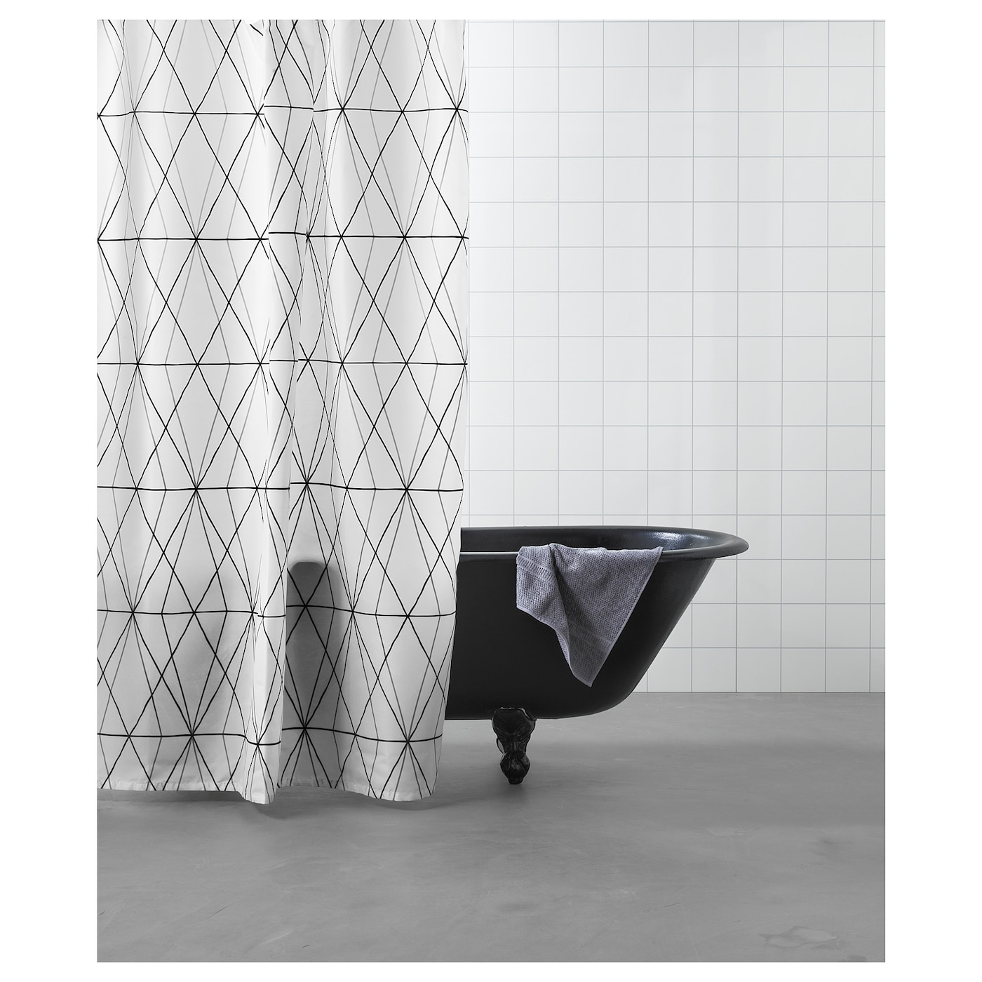 IKEA FOLJAREN Shower Curtain Densely Woven Polyester Fabric With Water Repellent Coating