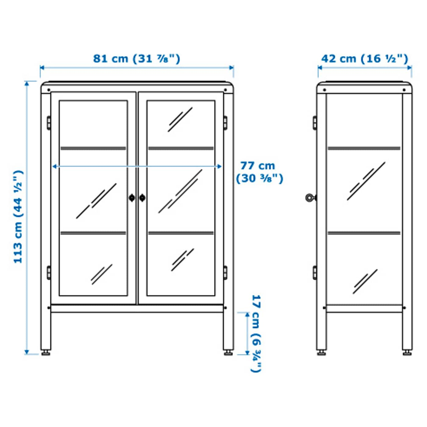 IKEA FABRIKÖR glass-door cabinet Adjustable feet; stands steady also on an uneven floor.