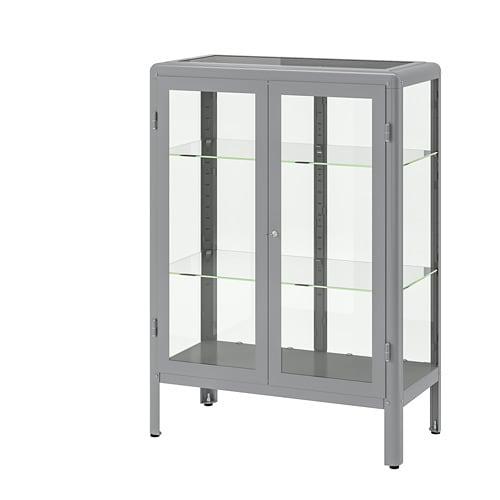 Fabrikör Glass Door Cabinet Grey 81 X 113 Cm Ikea