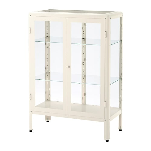 IKEA FABRIKÖR Glass Door Cabinet Adjustable Feet; Stands Steady Also On An  Uneven Floor