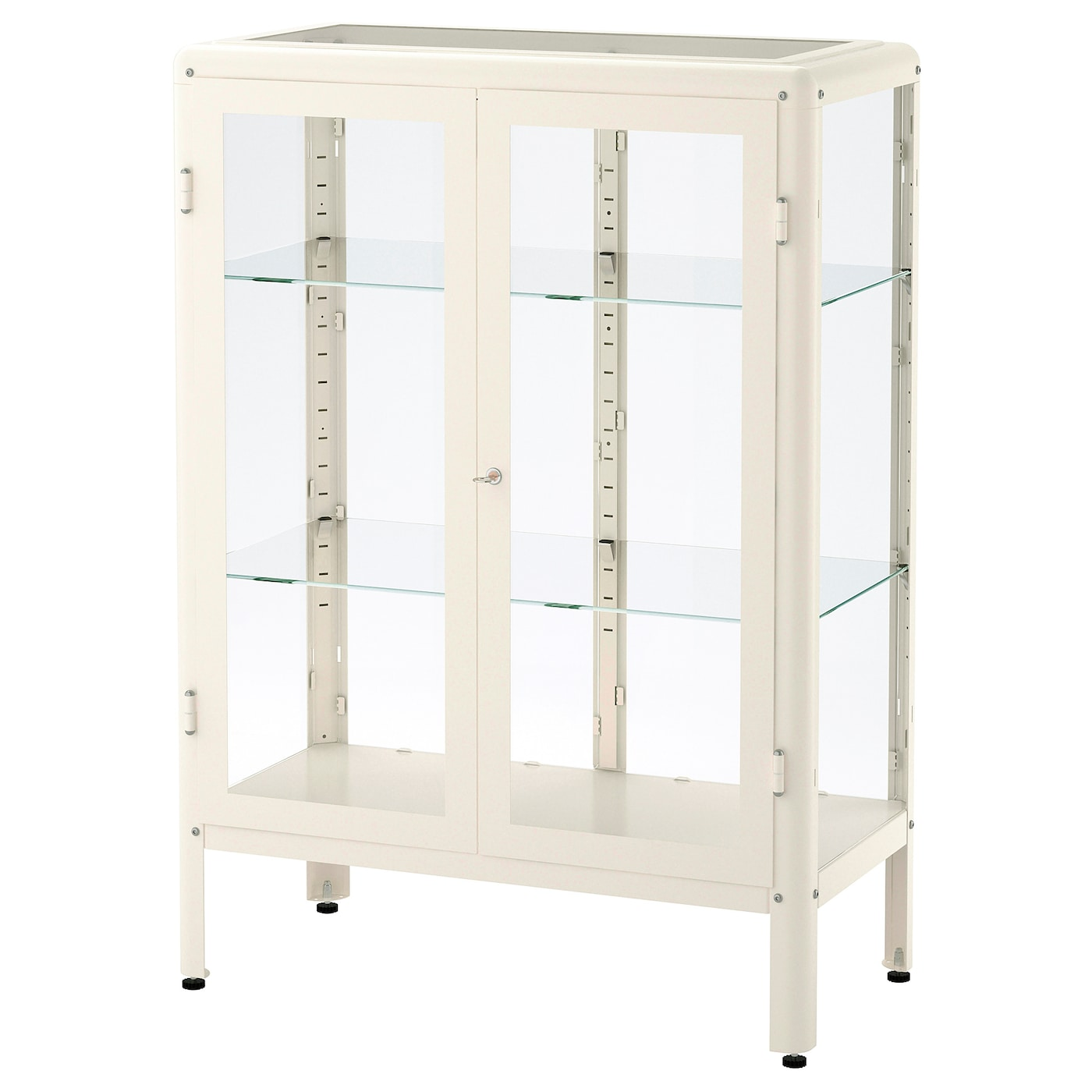 Ikea fabrikör glass door cabinet adjustable feet stands steady also on an uneven floor