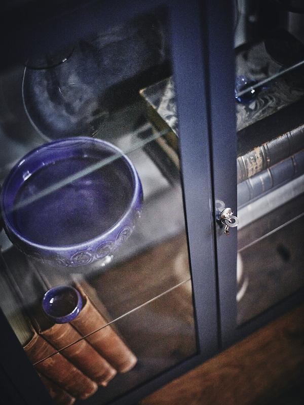 FABRIKÖR Glass-door cabinet, black-blue, 81x113 cm