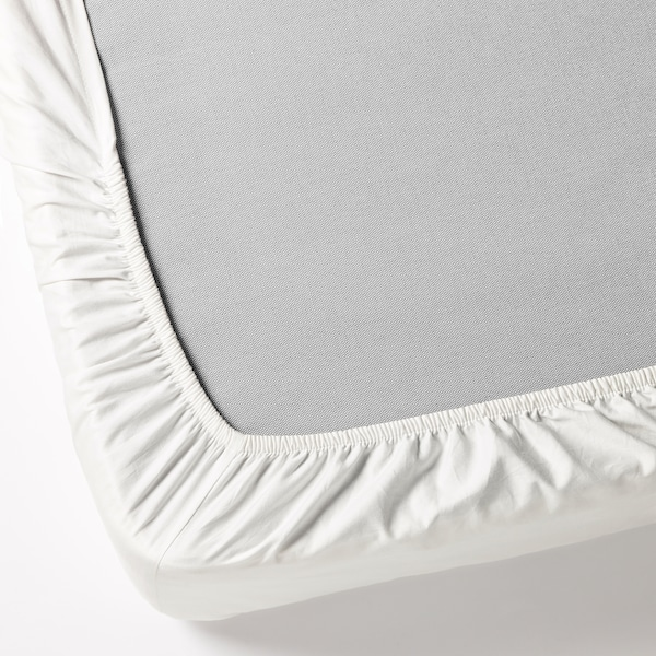 FÄRGMÅRA Fitted sheet, white, Double