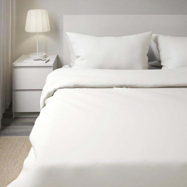 FÄRGMÅRA Quilt cover and 2 pillowcases, white, 200x200/50x80 cm
