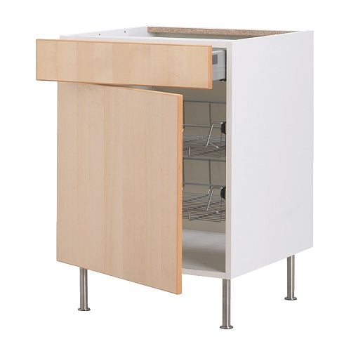 FAKTUM Base cab w wire basket/drawer/door IKEA Fully-extending drawer; for easy overview and access to the contents.
