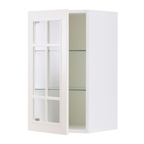 FAKTUM Wall cabinet with glass door IKEA Adjustable shelf; adapt spacing to your own storage needs.