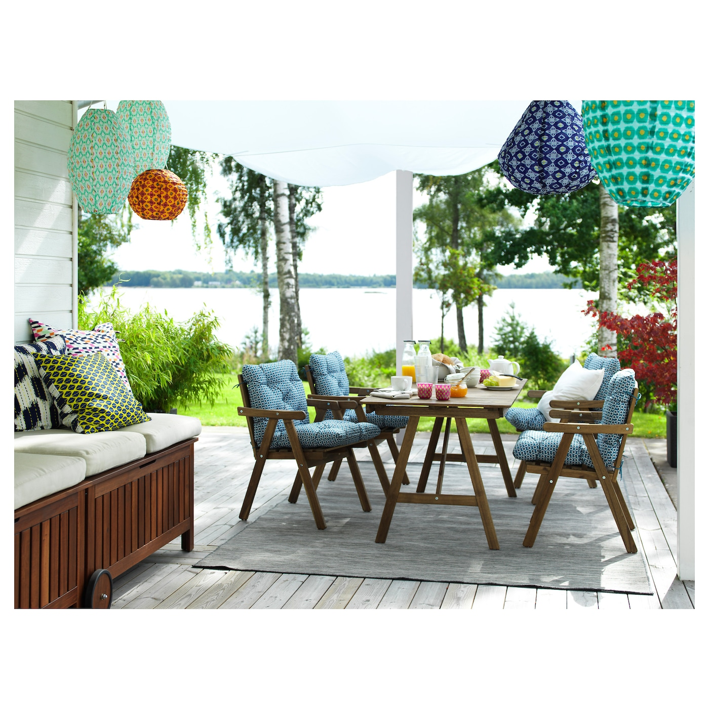 IKEA FALHOLMEN chair with armrests, outdoor Can be stacked, which helps you save space.
